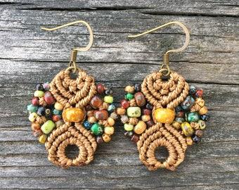 Micro-Macrame Dangle Earrings. Modern Macrame. Knotted Macrame Earrings. Boutique Fashion. Knotted Beaded Earrings. Picasso Beaded Earrings.