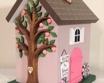 Peach Tree Cottage Small Wedding Card Box Birdhouse with Flowers