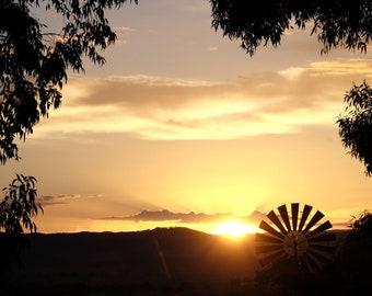 Garden Windmill at Sunrise