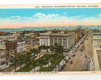 Linen Postcard, San Diego, California, Point Loma, Coronado, Business Section, ca 1930