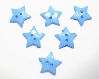 LOT 6 buttons: Star Blue 19mm