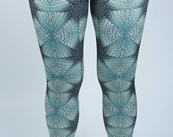 4 way stretch lycra leggings shown in custom fabric inspired by the Eagle Ray and Ornate Ray
