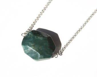 Bloodstone Sterling Necklace Green Jasper Chalcedony Heliotrope Chunky Stone Pendant Sterling Silver Chain Geometric Simple Necklace #17621