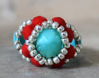 Czech Fire Polished Woven Ring in Turquoise and Red