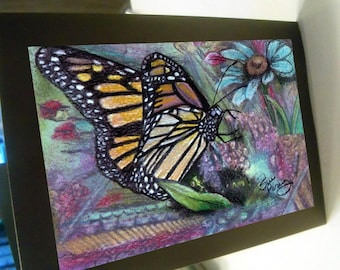 greeting card print of original art- butterfly floral Zentangle spirit animal