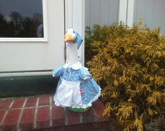 Goose Clothing -   Mary the Farmer's Wife in her Blue Print Cotton Dress with White Apron - for you Plastic or Concrete Lawn Goose