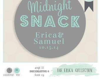 "custom wedding favor sticker. Color of Choice. Size 2"" Round. MIDNIGHT SNACK. Erica collection in Aqua Grey. Personalized with name and date"