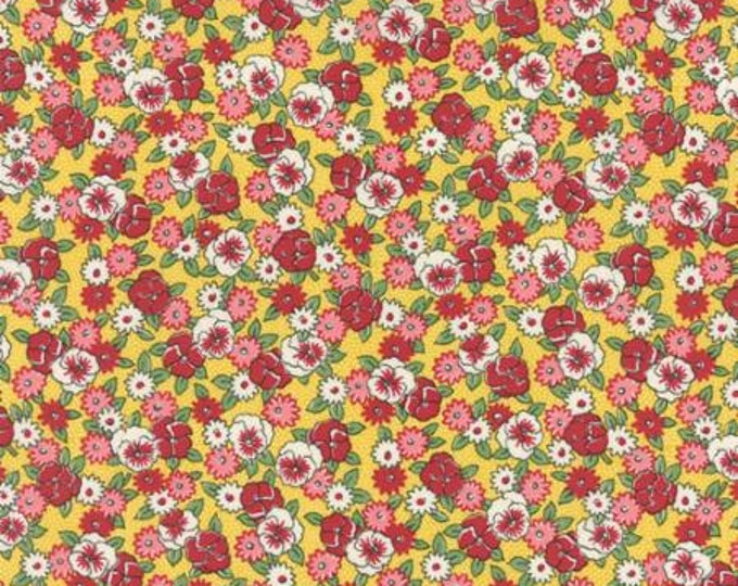 Bread n Butter Pansies Yellow - 1/2yd