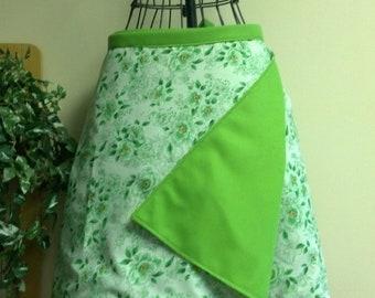 Wrap Skirt Reversible Green Floral Medium CLEARANCE