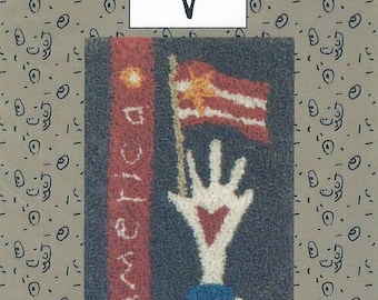 Flag In Hand by Sandy Gervais - Needlepunch / Punchneedle Embroidery Pattern