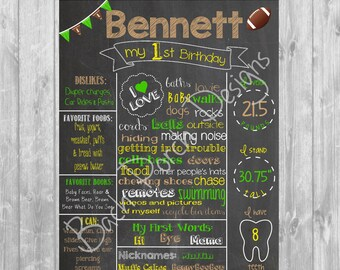 Football First Birthday Chalkboard Poster - Digital