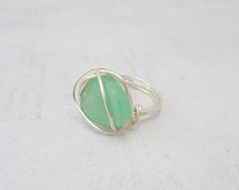Green Aventurine Wire Ring, Green Gemstone Ring, Aventurine Jewelry, Aventurine Wire wrapped ring, Green Aventurine Ring, Green Wire Ring