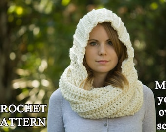 CROCHET PATTERN Hooded Scarf Pattern, Crochet Scoodie Instant Download