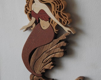Enticing Blond Mermaid with Zebrawood Tail -- Wall Art
