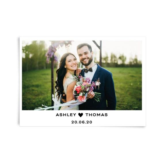 Personalised wedding thank you card, Custom photo thank you card, Wedding thank you card template photo, Thank you flat card, Stationary set
