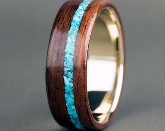 English Oak with 14K Yellow Gold Base and Offset Turquoise Inlay