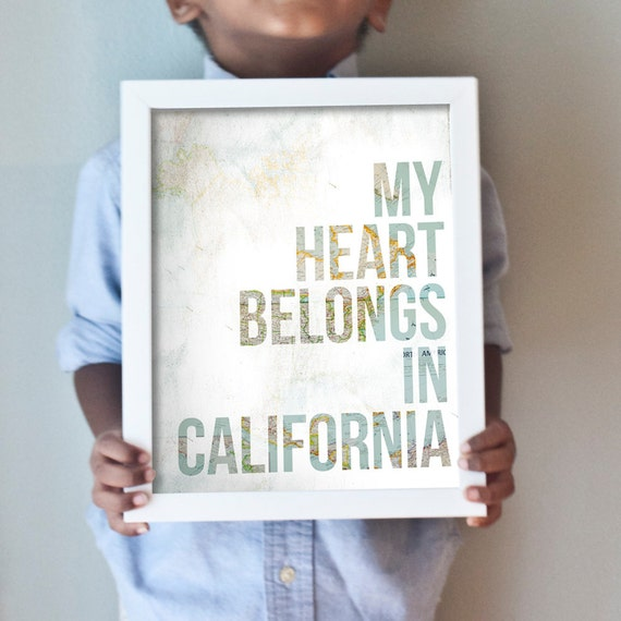 "Custom ""My Heart Belongs In..."" art print with your choice of vintage map background"
