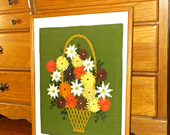 Large Crewel Picture,Crewel Picture,Flowers Crewel Picture,Fall Flowers Crewel Picture,Fall Flowers Picture,Fall Flowers Picture Decor,Decor