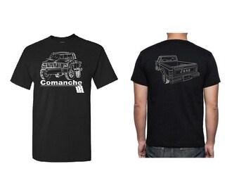 T Shirt Jeep Comanche MJ 4X4 Sport Truck 4.0 4WD Custom Screen Printed Tee