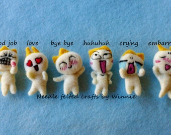 Set of 6 Needle felted Emotion magnets handmade OOAK fridge magnets