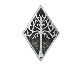 2 White Tree Of Gondor 3/4 inch ( 19 mm )  Pewter Metal Buttons Antique Silver Color