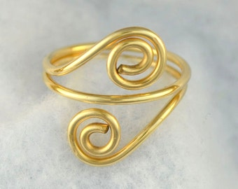 "adjustable gold ring. 14K gold filled wire spirals   ""Double Twist"""