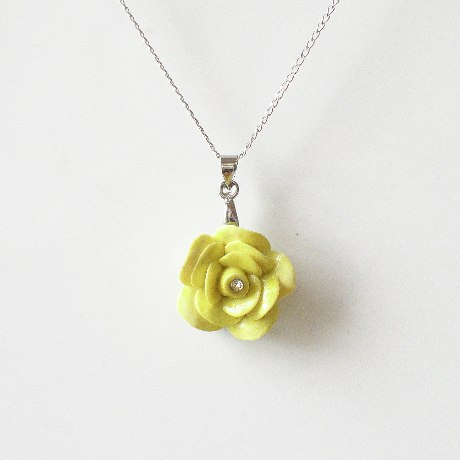 Porcelain yellow rose pendant with sterling silver necklace zoom mozeypictures Image collections