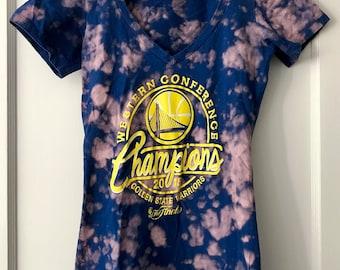 Tie Dye Golden State Warriors Women's Vneck Tshirt
