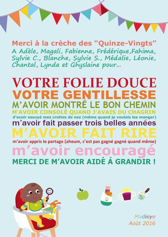 Connu Affiche Merci Nounou ou crèche cadeau LY33
