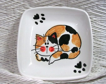 Calico Cat with Paw Prints On Square Ceramic Dish / Bowl Handmade by Gracie