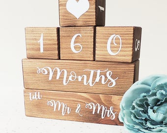 wedding countdown, engagement gift, gift for couple, proposal gift, wedding calender, mr and mrs ideas, home decor, days until, handmade