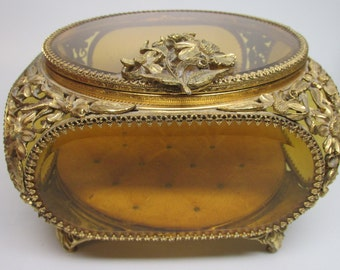 REDUCED Vintage Matson Amber Beveled Glass Ornate Gold Filigree Ormolu Large Jewelry Casket Jewelry Box