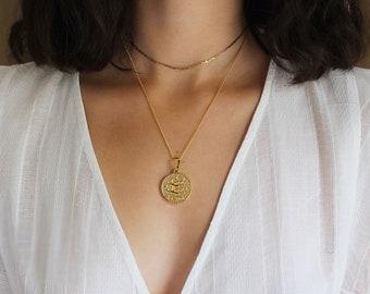Gold Zodiac Coin Necklace/Gold Medallion Necklace/Coin Jewelry/Constellation Necklace/Zodiac Necklace Gold/Layering Necklace/Gold Zodiac Cha