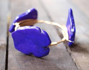 Wire Wrapped Bangle Bracelet | Purple Turquoise Wire Bracelet | Wire Bangle | Wire Wrapped Bangle | Purple Stone Bead Bracelet