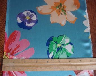100% Silk Charmeuse Prints - Flowers on Blue
