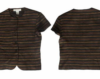 Vintage VTG Jones New York 1980's brown multi stripe button down short sleeve casual top blouse with pockets