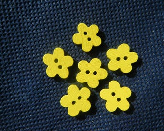 6 or 12 Wooden buttons, 11mm Wood Flowers, Small Yellow Sewing Buttons, Small Flower Buttons,