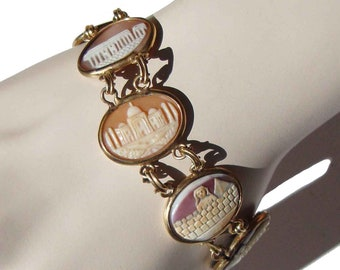 Vintage 60s Cameo Bracelet Carved Shell - Wonders of the World
