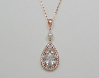 Rose Gold Tone Bridal Cubic Zirconia Crystal Necklace, Swarovski Pearls, Teardrop, Silver Tone - Will Ship in 1-3 Business Days