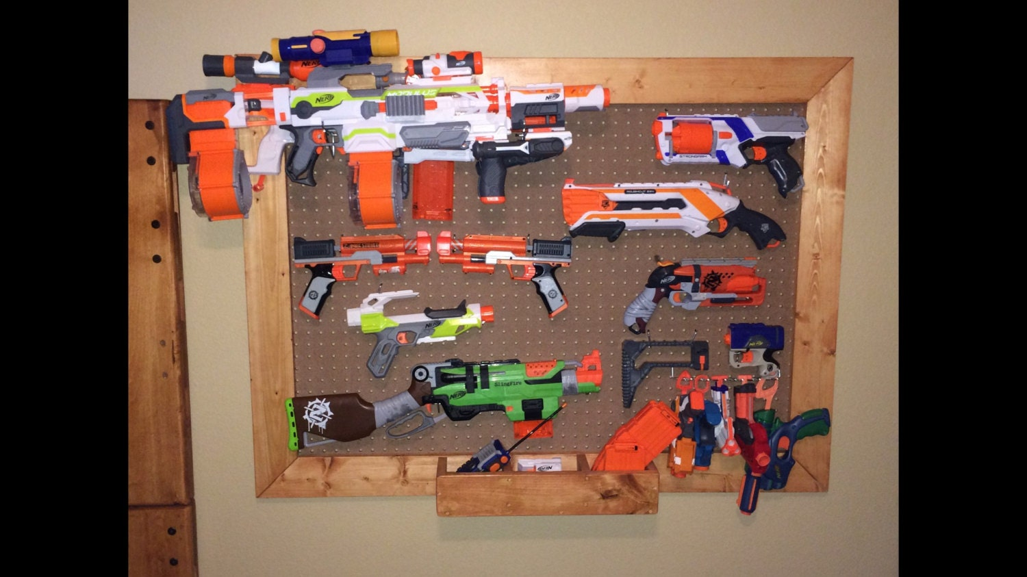 Wall Control metal pegboard organizational products are great for  organizing Airsoft, Paintball, and NERF