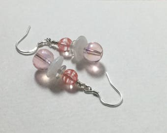 Pretty pink and striped orange glass beaded drop earrings, sterling silver