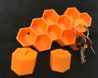 Honeycomb shelf/key holder/fathers day gift/Hexagon wall decor/Beekeeper gift/honeycomb decor/gift for him/bee lover/gift for her/for dad