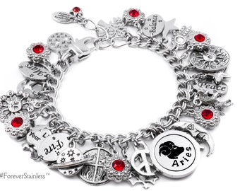 Horoscope Jewelry, Zodiac Bracelet, Aries Birthday Gift, Choice of Astrology Sign and Crystal Color in stainless steel