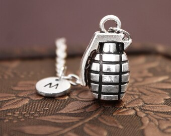 Hand Grenade Necklace, Initial Necklace Personalized Necklace, Engraved Necklace, Custom Necklace, Grenade Charm Necklace, Monogram Necklace