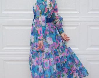 70s Aqua and Purple Floral Hostess Dress