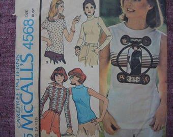 vintage 1970s McCalls sewing pattern 4568 misses set of tops size large