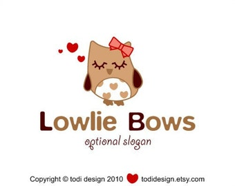 Premade Character Illustrated Logo Design - Lowlie Bows, owl logo design