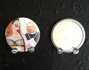 Babs Johnson Divine BDay card Pink Flamingos original art pocket mirror