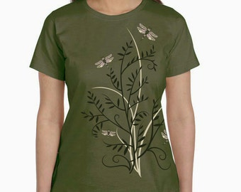 Women's Plus Size Dragonfly T-Shirt, Dragonflies shirt, Dragonfly floral print top