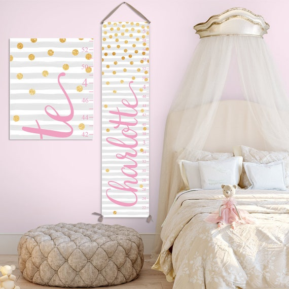 Grey and Gold Glitter Growth Chart - Custom Font Color, Personalized Canvas Growth Chart, Pink and Gold Nursery Decor - GC2044P